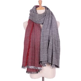 Wholesale thick acrylic blankets - New Arrival Autumn Winter Color Stitching Thick Cashmere Scarves Wraps Wool Plaid Pashmina Multifunctional Women Blanket Scarf