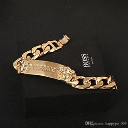 Wholesale quality gold plated - Newest gold color Bracelets Big brand style charm bracelet Medusa double head bracelet high quality plating color high-end