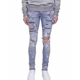 Canada AM1R1 JEANS Élasticité Strass Splash Ink Jeans De Mode Hommes Pantalons Décontractés Trou Serré Top Qualité Jeans HFYTKZ020 Offre