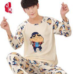 Winter Men Pajama Set Long Sleeve Autumn Cotton Man Pyjamas Plus Size L-5XL  Cartoon Lounge Casual Pajama Plaid Sleepwear Sets b6a7636d2