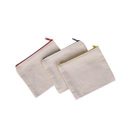 Cremallera de lona en blanco Estuches de lápiz Bolsas de pluma bolsas de cosméticos de algodón Bolsas de maquillaje Bolsa de embrague de teléfono móvil organizador desde fabricantes