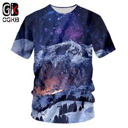 fa8cd0daad7f OGKB T Shirts Man New Short Landscape 3D Tshirt Printed Snow mountain  Leisure Plus Size 5XL 6XL Costuming Unisex T-shirt