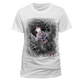 2019 t-shirt clown mann OFFIZIELLE IT - PENNYWISE das TANZENDE CLOWN HIDDEN WHITE T-SHIRT (MARKE NEU) Herrenbekleidung T-Shirts Kurzarm männlich günstig t-shirt clown mann
