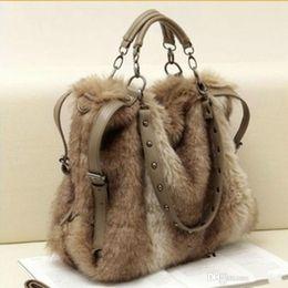 439bcd1b03df 2016 women s leather handbag fashion faux rabbit fur totes stud bags winter shoulder  bag cross-body cool messenger bag rivet purse - TM003