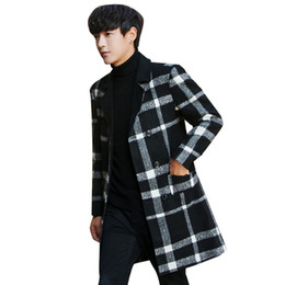2019 abrigo de lana vintage hombres FOLOBE Vintage Plaid Coat Men Mid Long Negro Red Check Mens Plaid Blend Abrigo Heren Jassen Winter Manteau Homme Hiver abrigo de lana vintage hombres baratos