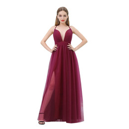 Wholesale Evening Dress Thin Straps - 2018 Dark Red Tulle Cheap Evening Dresses V Neck Thin Straps Sexy Burgundy Prom Party Gowns