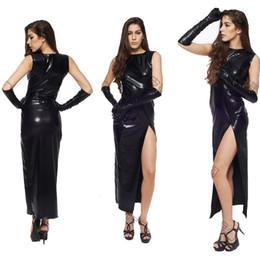 кабаловые кожаные перчатки Скидка 2017 Fetish Black Vinyl Leather Bodysuit Lingerie Dress Erotic Bondage Latex Long PVC Dress + Gloves Clubwear sexy
