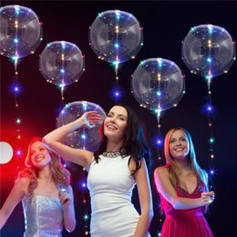 Wholesale Wholesale Air Cards - Balloon String Lights LED Bobo Balloons 10Ft Colorful Copper Lights 18 Inch Transparent Balloon Can Filble Air Helium Hydrogen Wave Ball