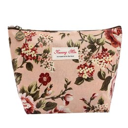 Wholesale Cheap Coin Pouches - Fashion Vintage Floral Cosmetic Bag Flowers Printed Women Travel Makeup Bag Zipper Organizer Mini Pouch Coin Cheap Purses Girls