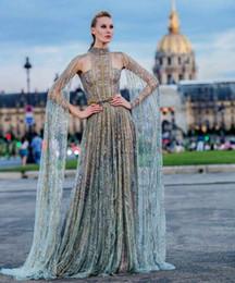 Canada Robe de soirée robe longue manches longues en cristal col montant tulle une ligne peut être personnalisé belle classique moderne Offre