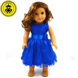 Wholesale Handmade Clothes For Girls - Handmade 15 Colors Princess Dress Doll Clothes for 18 inch Dolls American Girl Doll Clothes and Accessories D-9