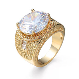 Argentina MGFam (243R) Grandes anillos de circón blanco Joyas para mujer Moda 18 k chapado en oro Circón cúbico Suministro