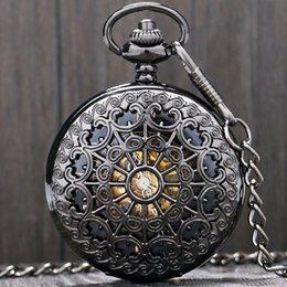 Лучшие черные наручные часы онлайн-Прохладный черный металл полый ручной ветер механические карманные часы стимпанк часы мужчины Predant цепи лучший подарок