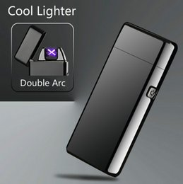 Wholesale Colorful Arc - New Double ARC Electric USB Lighter Rechargeable Plasma Windproof Pulse Flameless Cigarette lighter colorful charge usb lighters