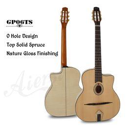 2019 12 string solid body e-gitarre Aiersi Marke Oval Loch Petit Bouche Solid Top Django Jazz Gypsy Gitarre mit freiem Gitarrenkasten