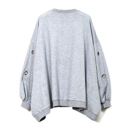 Wholesale Korean Sweatshirts For Women - Hollow Out Casual Korean spring round neck long sleeve solid color big size hollow women fashion tide Sweatshirt for Women
