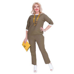 aa149fe10c03 5XL 6XL Plus Size Women s Sets Summer Casual Suits Female Fashion Office  Lady Large Size Big Suits Blue Khaki 2pcs Sets summer suits office lady  deals