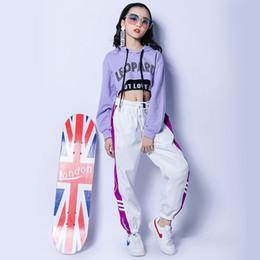 2019 jazz violet Costume De Jazz Hip Hop Vêtements Pour Les Filles Pourpre À Capuche Top Noir Gilet Blanc Pantalon Street Dance Vêtements Performance Porter DNV10426 jazz violet pas cher