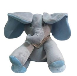 Wholesale Electronic Ear - Peek A Boo Elephant Plush Toy Blue Ears Electronic Elephant Toy Play Hide And Seek Baby Kids Soft Doll Birthday Gift For Child