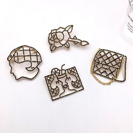 Wholesale Wedding Bags For Girls - 4 Designs for Options Yellow Gold Plated AAA Black Rhinestone Lady Face Bag Rose Brooch Pins for Girls Women Nice Gift NL-587
