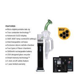 2019 bateria ecig recarregável Tubo de água de vidro kit caneta de vaporizador vaporizador portátil controlador de temperatura ecig wax pen kit com bateria recarregável 3000 mAh G9 TC Port desconto bateria ecig recarregável