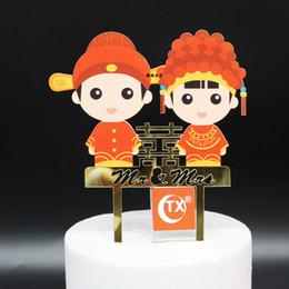 decorações chinesas do bolo de casamento Desconto Frete Grátis Espelho de Ouro Vermelho Chinês Bolo De Casamento Topper Noivo Da Noiva Acrílico Bolo Topper Partido Mr Mrs Bolo Decoração