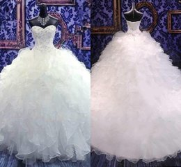 Wholesale Strapless White Dress Corset - 2018 Luxury Sweetheart Strapless A-Line Wedding Dresses Embroidery Bridal Gowns Princess Ball Gown Corset Organza Ruffles Plus Size Vestidos