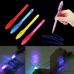 Wholesale Drawing Magic - Creative Stationery LED Highlighter Pen Magic 2 In 1 UV Black Light Combo School Office Drawing Invisible Ink Pen Random
