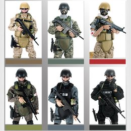 """Wholesale Toy Military Soldiers - Movable 5 Style 12 """"1  6 Swat Black Uniform Military Army Combat Game Toys Soldier Set Sdu Seals Action Figure Model Toys E"""