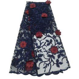 Cordón bordado Tulle azul marino / del vino con mejores ventas Últimas costuras francesas del Applique 3D Tela africana del cordón para señora X909-1 desde fabricantes