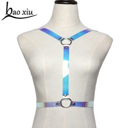 rainbow women belt Promo Codes - Sexy Body leather Harness Transparent color Slimming Waist Belts women Metal circle Rainbow PVC punk Body Bondage Cage Straps