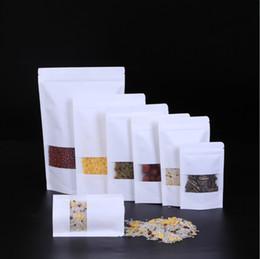 petites poches en papier Promotion Les sacs en papier kraft blancs tiennent la poche avec la fenêtre Le petit sac de vente au détail de Kraft De qualité alimentaire résistant à l'humidité pour le biscuit de biscuit de sucrerie etc. LZ1878