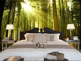 Wholesale Sun Moulds - Custom nature wall murals, the sun through the forest wall mural for the bedroom TV KTV waterproof vinyl papel DE parede