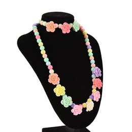Wholesale Baby Flower Bracelet - whole saleLovely Pastel Toddler Kids Necklace Baby Girls Rose Flower Necklace 43cm Fashion girls bracelet Jewelry 15cm Party Favor