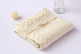 Wholesale White Linen Table Cloth - 90*90cm Simple Style Woven Dobby Linen Tablecloth High Quality Japan Stlye Table Cloth for Restaurant Free Shipping