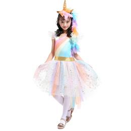 Wholesale girls cosplay - 4-7T Girls Rainbow Dress with Unicorn Headband + Angel Wings Lace Tutu Girls Princess Dress Suits Cosplay Clothing Sets TIANGELTG