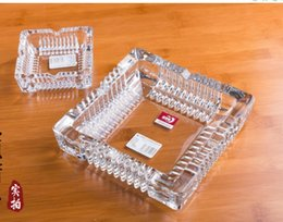 Wholesale Portable Living Room - Square Style Crystal Ashtrays Glass living Room HGotel Office Ashtray Three size Portable House Smoke Creative For