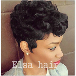 Wholesale human hair wave bangs - Short Human Hair Wigs Natural wave For Black Women Brazilian Pixie Human Hair Lace wigs Full Lace Hair Wigs with Bangs
