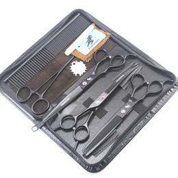 Cortes de mão on-line-Mão esquerda freelander 7.0 polegadas preto laca corte / desbaste tesoura kit com estojo de couro + Comb + laca