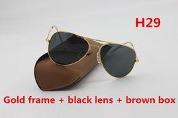 Wholesale Gold Drive - Luxury Brand Designer Fashion Retro Sunglasses Men Women 58mm 62mm mm Glass Lens Gold Retro sunglasses and Case Case