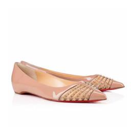 Berühmte Marke Red Bottom Bareta Spitz Spikes Frauen Ballerinas Sexy Damen Echtes Leder Ballerinas Schuhe Party Kleid Hochzeit von Fabrikanten