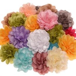 Wholesale chiffon ruffle hair - 60PCS Chiffon ruffled 6cm Hair Flower Fashion Hair Accessories DIY Accessory Wedding decoration flower Without Clips No Barrette