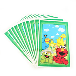 Wholesale Kids Party Paper Bags - 20pcs lot Sesame Street Theme Party Gift Bag Party Decoration Plastic Candy Bag Loot For Kids Birthday Festival Supplies