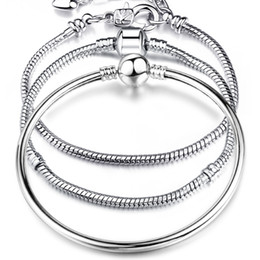 Encantos de amor enlaces para pulseras online-Cadenas Pulseras Plata 925 LOVE Serpiente Cadena Pulsera Brazalete 17CM-21CM Pulseras Lobster for Charms Beads Link Pulsera