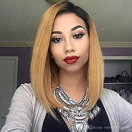 straight shoot Promo Codes - Straight #1B 27 Honey Blonde Ombre Shot Bob Wigs Brazilian Virgin Human Hair Bob Cut Glueless Fuu Lace & Lace Front Wigs 130% Density