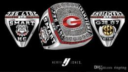 runde diamant-einstellungen Rabatt 2018 Drop Shipping 2002 2003 2005 2005 2017 Georgia Bulldogs SEC Meisterschaft Ring Team Fan Männer Geschenk Großhandel