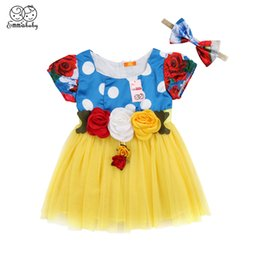 Wholesale snow white cartoon girls - Emmababy princess Baby Girl Snow White Dress Kids girls Children Hairpin flower Dress Party Cosplay Costume Clothes Vestido