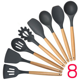 Wholesale Spatulas Wood - New Wood Handle Silicone Cooking Utensils For Kitchen Slotted Turner Spatula Spoon Ladle Spaghetti Tools Cooking Sets 100sets IB691