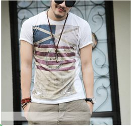 Wholesale Wholesale Designers Clothes - Harajuku T Shirt White Gray Men Designer Clothes Cross Flag Print T Shirts Vintage Military T-Shirt Color Block Striped Tops Size M-3XL