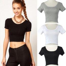 Wholesale Crochet Basics - 2017 Summer Short Sleeves Sexy Women Basic Tees Short Tops Cropped shirt Classic White Black Gray Workout Tops crochet top